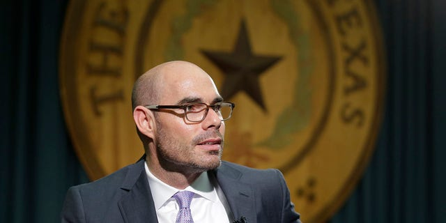 FILE - In this May 15, 2015, file photo, Texas Rep. Dennis Bonnen, R-Angleton, talks to the media at the Texas Capitol in Austin, Texas. (AP Photo/Eric Gay, File)