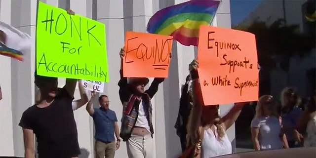 Protesters outside the Equinox gym in West Hollywood, Calif., Friday.