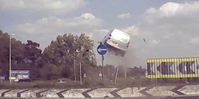 Westlake Legal Group flight-3 Video captures the moment a van jumps 10 feet into the air over roundabout Gary Gastelu fox-news/world/world-regions/united-kingdom fox-news/auto/attributes/safety fox news fnc/auto fnc article 75c3d3fa-4413-57ce-94da-36426db8ddff