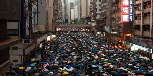 Protesters march while holding umbrellas during the demonstration. Over 1 million Hong Kongese protesters filled the streets of Hong Kong Island to protest against police brutality, the extradition bill, and other grievances despite a constant heavy downpour.