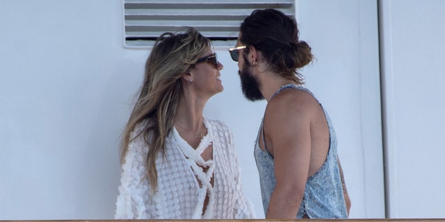 Heidi Klum and Tom Kaulitz are seen on the Christina O. yacht during their wedding day on August 03, 2019 in Capri, Italy.