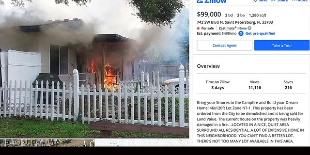 One Florida real estate agent is reportedly catching heat for advertising a home for sale with a photo of the unit on fire, but he remains confident that the unconventional marketing ploy will entice the right buyer.