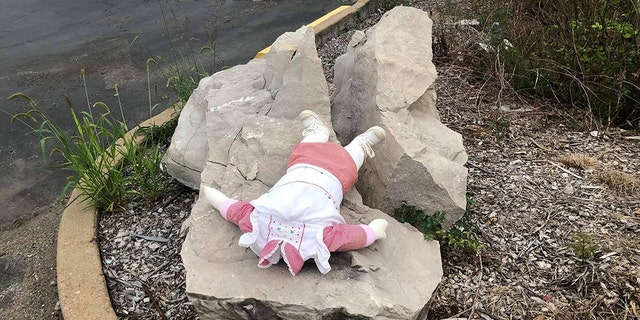 A doll is seen with its head cut off in Jefferson County, Missouri.