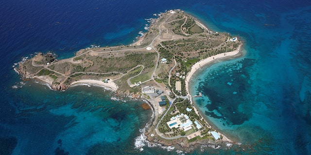 Little St. James Island, one of the properties of financier Jeffrey Epstein, seen in an aerial view near Charlotte Amalie, St. Thomas, U.S. Virgin Islands.