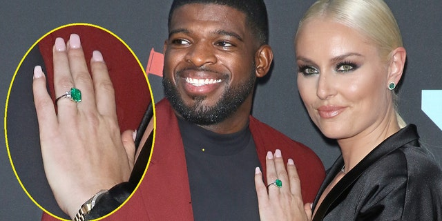 Subban and Vonn attend a 2019 MTV Video Music Awards during Prudential Center on Aug 26, 2019 in Newark, New Jersey. The newly intent contestant showed off her emerald rendezvous ring.
