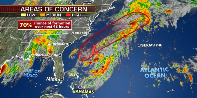 An area of low pressure off the Southeast coast could also develop over the next few days, but is not expected to affect land and only create swells and rip current along the East Coast, according to Fox News Senior Meteorologist Janice Dean.