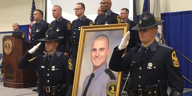 """A portrait of Dowell was unveiled at the Virginia State Police academy following his death. """"His portrait is a reminder of how dangerous of a job it can be, and that no matter what the circumstance is, any loss of life is just tragic,"""" First Sgt. Matthew Riley told Fox News."""