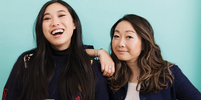 """Lulu Wang and actress Awkwafina pose in New York to promote their film, """"The Farewell."""""""