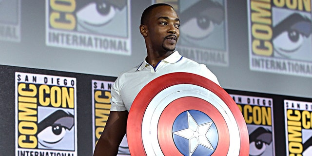 Anthony Mackie of Marvel Studios' 'The Falcon and The Winter Soldier' at the San Diego Comic-Con International 2019.