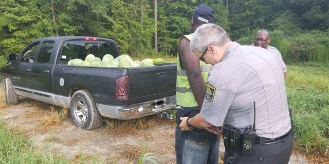 Deputies said two deputies found Michael Bryant with a load of stolen watermelons on Friday near Rocky Mount when they went to check out a theft of crops report.