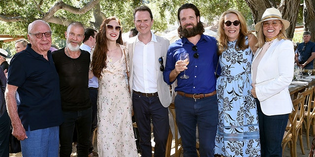 From l-r: Rupert Murdoch, Aviv Nevo, Elizabeth Jagger, Chairman Walt Disney Television Peter Rice, Christopher Behlau, Jerry Hall Murdoch, and Megan Rice.