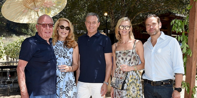From l-r: Rupert Murdoch, Jerry Hall Murdoch, Chairman/CEO, Walt Disney Company Robert Iger, Sarah Murdoch, and FOX Corp CEO Lachlan Murdoch.