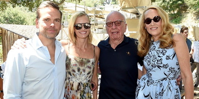 From l-r: Lachlan Murdoch, Sarah Murdoch, Rupert Murdoch, and Jerry Hall Murdoch.