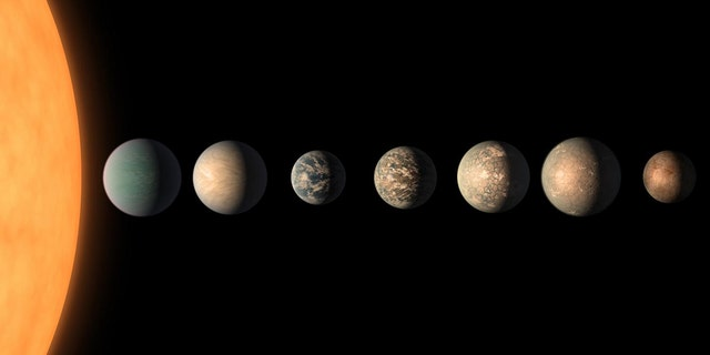 """The artist shows what the planetary TRAPPIST-1 system might look like. for example, based on available data on the planets' diameters, masses and distances from the receiving star as of February 2018. 3 of the 7 exoplanets are in the """"habitable zone"""" where liquid water is possible. (Credit: NASA / JPL-Caltech)"""