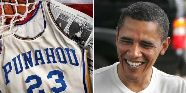 The bidding for the former president's high school basketball jersey started at $25,000.