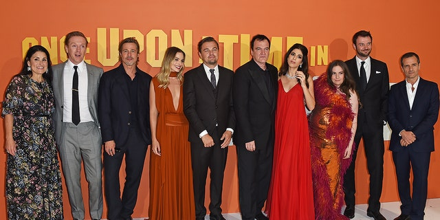 "Shannon McIntosh, Damian Lewis, Brad Pitt, Margot Robbie, Leonardo DiCaprio, Quentin Tarantino, Daniela Pick Tarantino, Lena Dunham, Costa Ronin and David Heyman attend the London premiere of ""Once Upon a Time...In Hollywood"" on July 30, 2019."