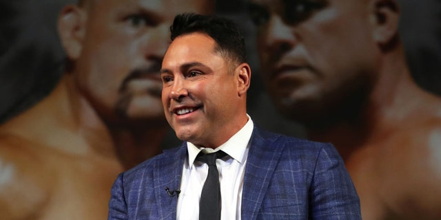 Former boxer Oscar De La Hoya during undercard press conference at the KA Theater at MGM Grand Hotel & Casino on Sept. 14, 2018 in Las Vegas. (Photo by Omar Vega/Getty Images)