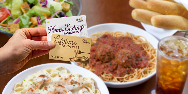 The Lifetime Pasta Passes — which are available to the first 50 people lucky enough to snag a Pasta Pass on Aug. 15 — will entitle the lucky recipients to unlimited pasta soup salad and breadsticks for their entire lifetimes