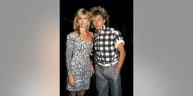 Rod Stewart and Kelly Emberg. (Photo by Ron Galella/Ron Galella Collection via Getty Images)