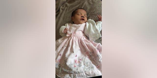 Amber Woollard's baby Valenci. (SWNS)