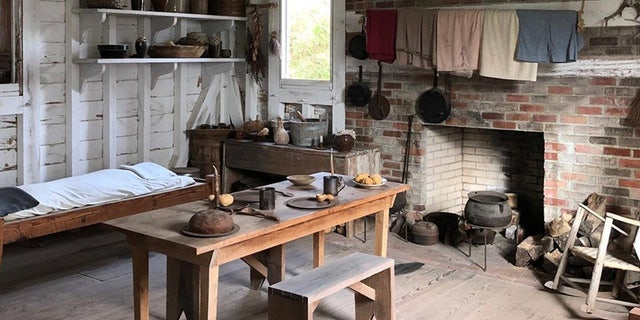 Inside a reconstructed slave cabin at Somerset Place State Historic Site.