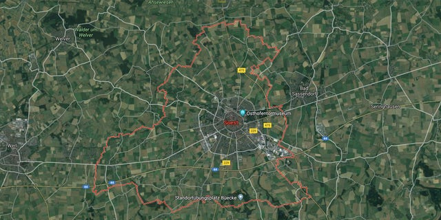 Soest is located about 30 miles east of Dortumund on the A44 autobahn.