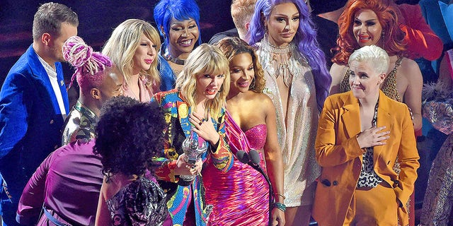 Taylor Swift accepts an award onstage during the 2019 MTV Video Music Awards at Prudential Center on Aug. 26, 2019 in Newark, New Jersey. Fans believe she said the F-word upon her name being announced as the winner.