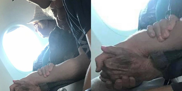 """A man is being praised as a """"flight angel"""" after comforting a 96-year-old woman who was nervous about flying by herself for the first time in 15 years."""
