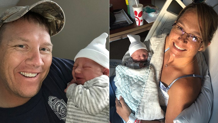 Navy dad catches newborn son while en route to hospital