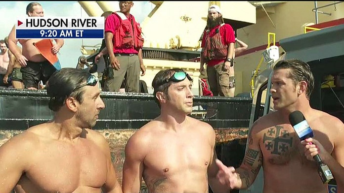 Pete Hegseth, Navy SEALS swim across Hudson River to honor military vets