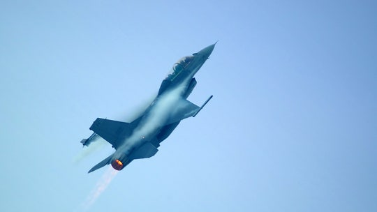 Belgian F-16 fighter jet crashes in France; pilot trapped hanging from power line