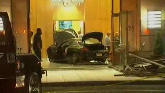 Car plows into lobby of Trump Plaza condominium complex