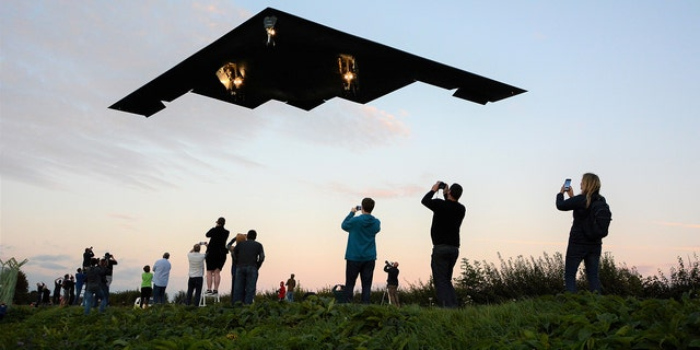 The Northrop Grumman B-2 Stealth Bomber comes in to land at RAF Fairford, Gloucestershire on September 11th, 2019 - Close up underneath photos of the B-2 bombers - the world's most expensive and secretive planes - returning from a training exercise from Iceland.