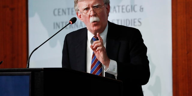 Former National Security Adviser John Bolton gestures while speaking at the Center for Strategic and International Studies in Washington on Monday. (AP Photo/Pablo Martinez Monsivais)