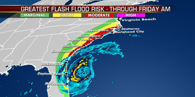 Flash flood risks from Hurricane Dorian.