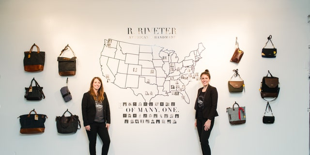 The founders of R. Riveter, Lisa Bradley, left, and Cameron Cruse, with a selection of their products.