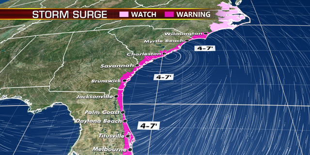Expected storm surge from Hurricane Dorian.
