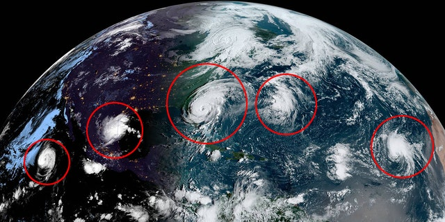 This image, taken on Wednesday, Sept. 3, 2019, shows tropical activity in the Pacific and Atlantic Oceans.
