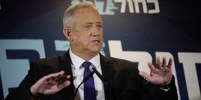 Blue and White party leader Benny Gantz delivering a statement in Tel Aviv this past Thursday.