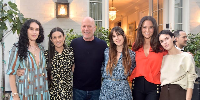 """Rumer Willis, Demi Moore, Bruce Willis, Scout Willis, Emma Heming Willis and Tallulah Willis attend Demi Moore's """"Inside Out"""" book launch party on Sept. 23, 2019 in Los Angeles."""