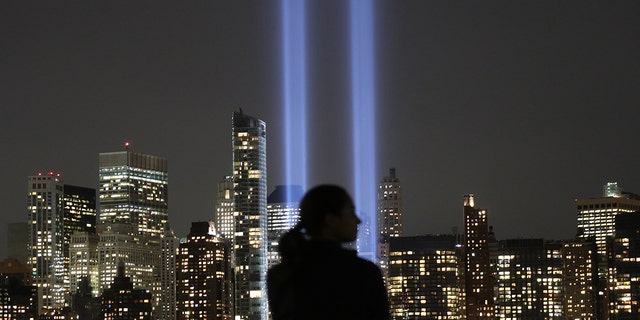 The annual Tribute in Light appears over lower Manhattan on Sept. 11, 2017 as seen from Jersey City, N.J. (Photo by Gary Hershorn/Getty Images)
