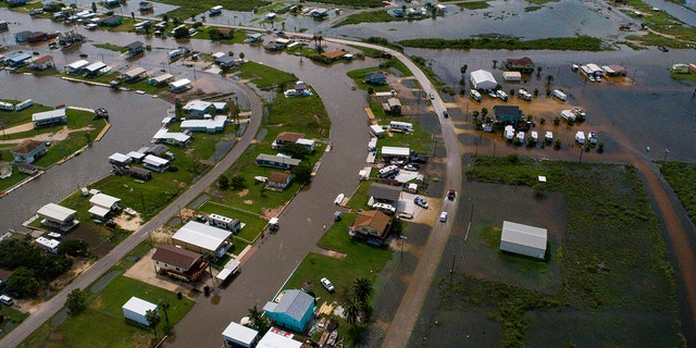 Sargent, Texas, pictured here from above, received 22 inches of rain since Imelda started impacted the area on Tuesday, officials said.