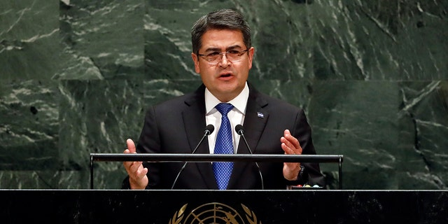 Honduras President Juan Orlando Hernandez Alvarado addresses the United Nations General Assembly Wednesday. (AP Photo/Richard Drew)