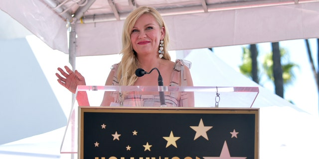 Actress Kirsten Dunst speaks during a ceremony honoring her with a star on the Hollywood Walk of Fame on Thursday, Aug. 29, 2019, in Los Angeles. (Richard Shotwell/Invision/AP)