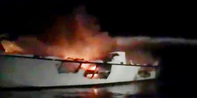 This image made from video showed the Conception before it sank off Santa Cruz Island early Monday. (Capt. Paul Amaral/TowBoatUS Ventura via AP)