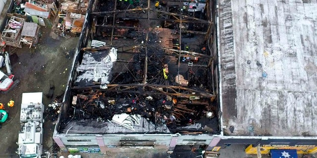 The burned warehouse after the deadly fire that broke out on Dec. 2, 2016, in Oakland, Calif. (City of Oakland via AP, File)