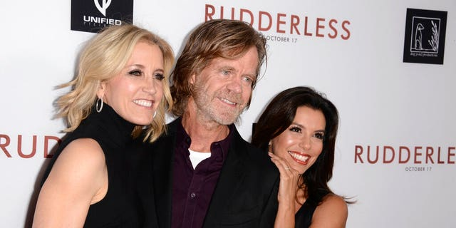 "In this Tuesday, Oct. 7, 2014 file photo, Felicity Huffman, from left, writer/director William H. Macy and Eva Longoria arrive at the Los Angeles VIP screening of ""Rudderless"" at The Vista Theater. (Photo by Dan Steinberg/Invision/AP, File)"