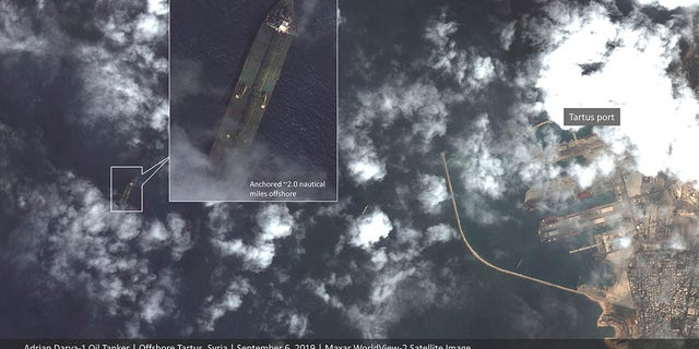 Thissatellite image provided by Maxar Technologies appears to show the Iranian oil tanker Adrian Darya-1 off the coast of Tartus, Syria, Sept. 6, 2019.<br> (Maxar Technologies via AP)