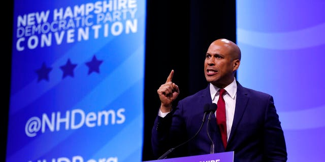 Democratic presidential candidate Sen. Cory Booker, D-N.J speaks during the New Hampshire state Democratic Party convention, Saturday, Sept. 7, 2019, in Manchester, NH.