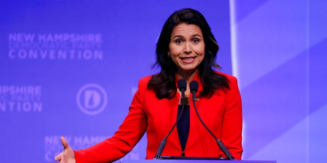 Democratic presidential candidate U.S. Rep. Tulsi Gabbard, D-Hawaii, speaks during the New Hampshire state Democratic Party convention, Saturday, Sept. 7, 2019, in Manchester, NH.
